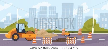 Roadworks In The City. Steamroller In Front Of A Pit Surrounded By Traffic Cones. Urban Road Constru