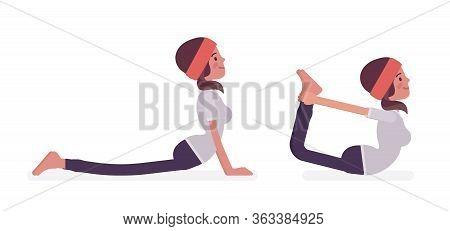 Woman In Yogi Sports Wear Practicing Yoga, Doing Cobra, Bhujangasana Pose, Dhanurasana, Bow Exercise