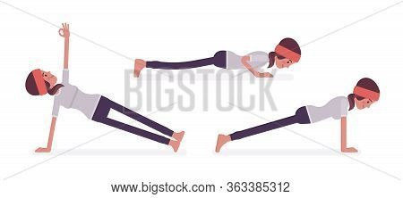 Woman In Yogi Sport Wear Practicing Yoga, Doing Push And Press Ups, Phalankasana, Plank Exercise, Va