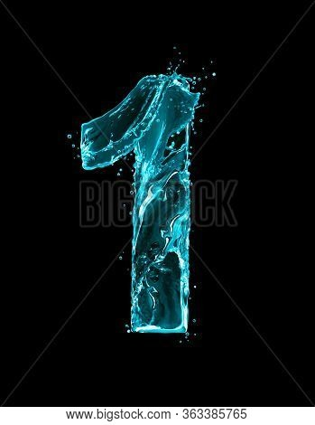 Number 1 Made Of Turquoise Splashes Of Water On Black Background. 3d Illustration