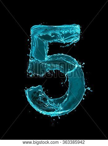 Number 5 Made Of Turquoise Splashes Of Water On Black Background. 3d Illustration