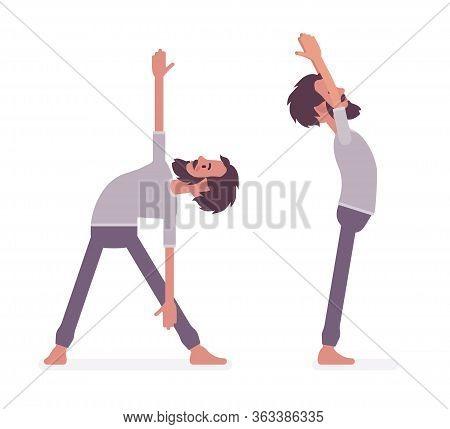 Young Sporty Yogi Man Practicing Yoga, Standing Poses, Mountain, Tadasana Variation, Utthita Trikona