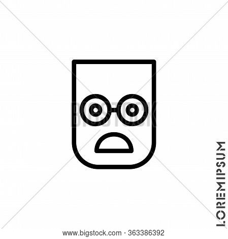 Frowning With Open Mouth Emoji Outline Vector Icon. Thin Line Black Frowning With Open Mouth Emoji I