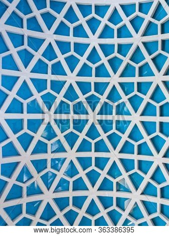 Blue Dome Ceiling With Hexagonal Patterns In A Covered Market; Grid Structures Of Steel And Glass. G