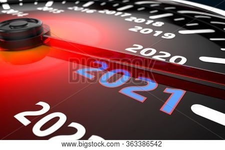 2021 Year Car Speedometer Countdown Concept. 3d Illustration