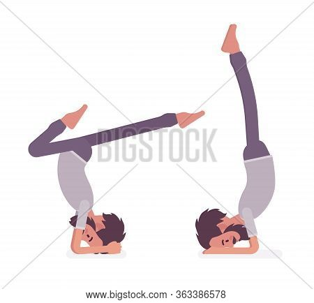 Man In Yogi Sport Wear Practicing Yoga, Headstand, Variation Of Salamba Sirsasana Pose And Handstand