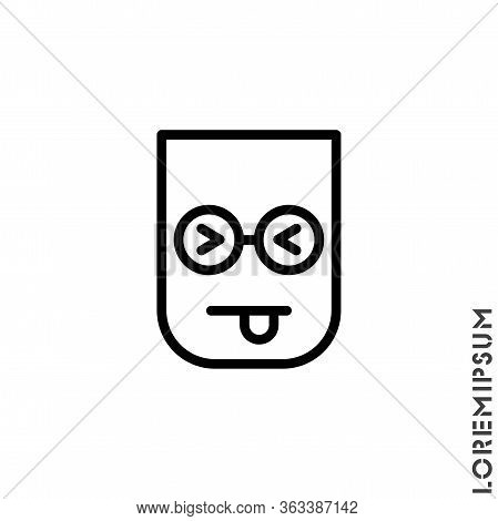 Squinting Face With Tongue Line Icon. Linear Style Sign For Mobile Concept And Web Design. Teasing S