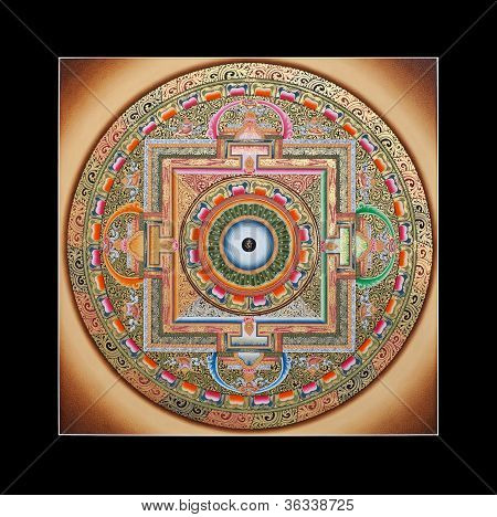Ancient tibetan tangka Wheel of life