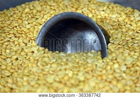 Half Rising Steel Bowl In Toor Dal (indian Pigeon Peas Dal)