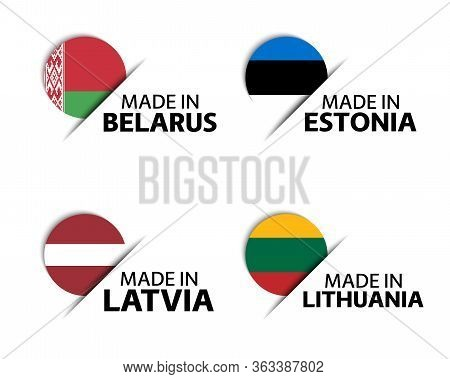 Set Of Four Belarussian, Estonian, Latvian And Lithuanian Stickers. Made In Belarus, Made In Estonia