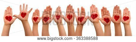 Children Hands With Heart Symbol And Smileys, Isolated Background