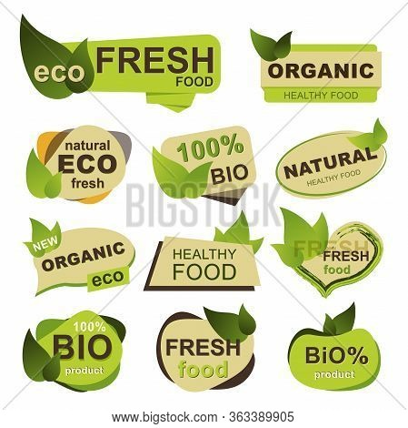 Organic Food Badges Set. Natural Eco Fresh Food, Bio Products And Healthy Nutrition Isolated Sticker