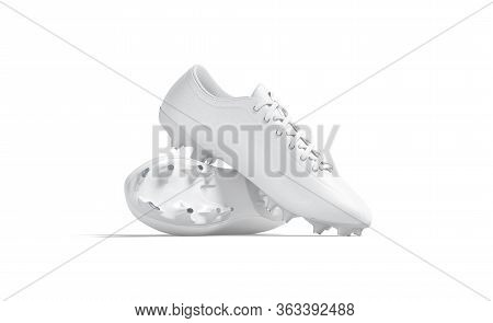 Blank White Soccer Boots With Rubber Cleats Mockup Stack, Isolated, 3d Rendering. Empty Pursuit Or J