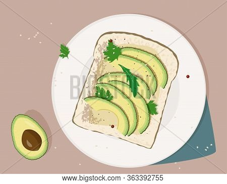 Avocado Toast. Fresh Toasted Bread With Slices Of Ripe Avocado. Delicious Avocado Sandwich With Sesa