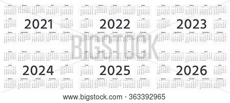 Spanish Calendar 2021, 2022, 2023, 2024, 2025, 2026 Years. Week Starts Monday. Vector. Spain Calende
