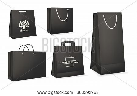 Mockup Realistic Paper Eco Package Bag Templates.