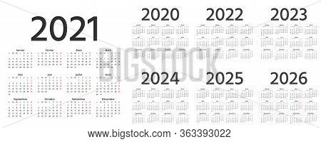 French Calendar 2021, 2022, 2023, 2024, 2025, 2026, 2020 Years. Vector. Week Starts Monday. France C