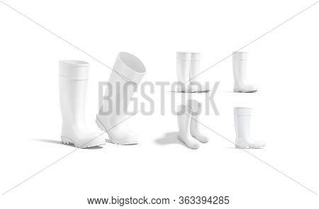 Blank White Rubber Wellington Boots Mockup, Different Views, 3d Rendering. Empty Season Footwear For
