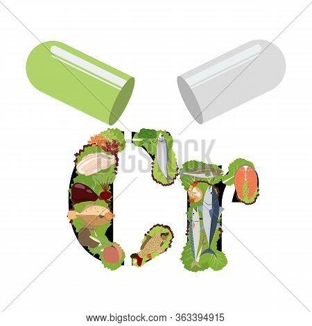 Chromium Healthy Nutrient Rich Food Vector Illustration