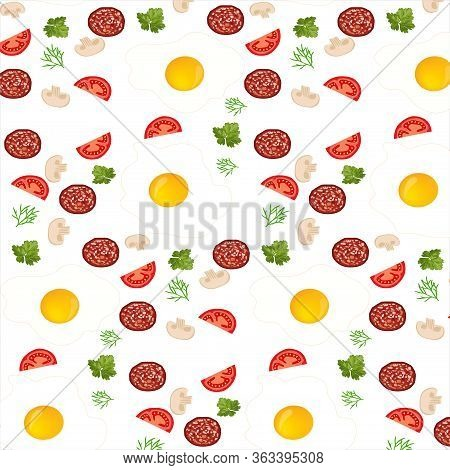 Food Vector Pattern. Fried Eggs With Vegetables And Sausage - Delicious Ingredients For A Nutritious
