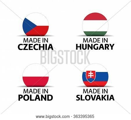 Set Of Four Czech, Hungarian, Polish And Slovak Stickers. Made In Czech Republic, Made In Hungary, M