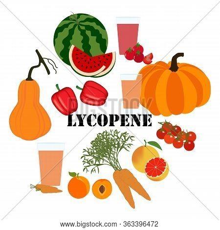 Lycopene Healthy Nutrient Rich Food Vector Illustration