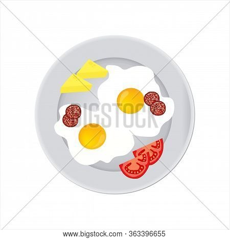 Tasty And Nutritious Breakfast - Two Fried Eggs And Sausage Slices With Soft Cheese And Tomato Slice