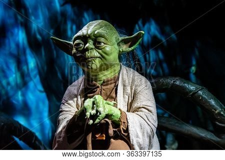 London, England, Uk - January 2, 2020: Waxwork Statues Of Master Yoda From Star Wars, Madame Tussaud