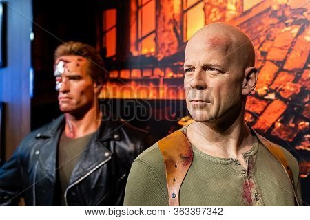 London, England, Uk - January 2, 2020: Waxwork Statues Of Bruce Willis Created By Madam Tussauds In
