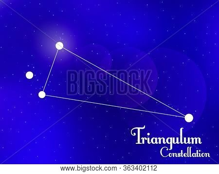 Triangulum Constellation. Starry Night Sky. Cluster Of Stars, Galaxy. Deep Space. Vector Illustratio