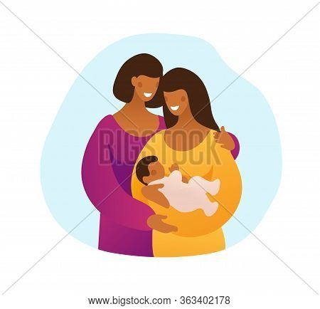 Lgbt Couple With A Child, Two Black Mothers With A Child. Young Mother With A Newborn Baby And Her M