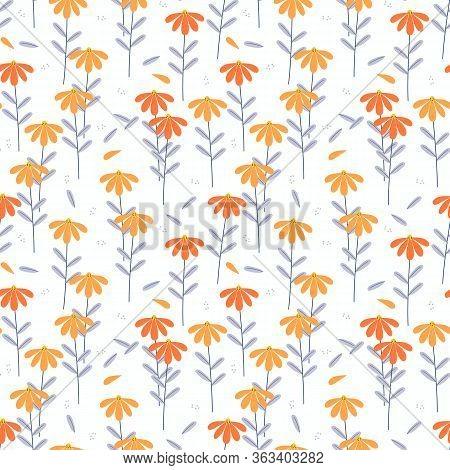 Vivid Color Flower Seamless Pattern Vector. Lovely Flower Concept.