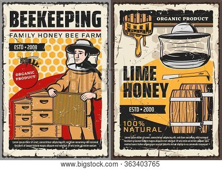 Honey And Beekeeping Farm, Vector Retro Vintage Posters. Family Organic Agriculture, Beekeeper With