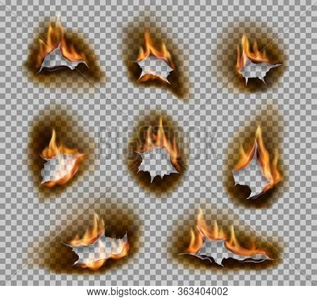 Burning Holes With Fire Flames Realistic Vector Design. Burnt Paper Holes On Transparent Background