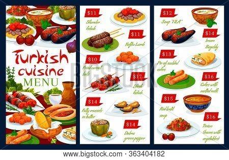 Turkish Cuisine National Food Vector Authentic Restaurant Menu. Turkish Iskender And Shish Kebab, La