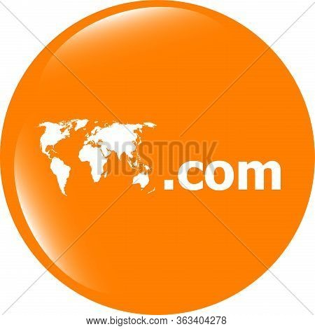 Domain Com Sign Icon. Top-level Internet Domain Symbol With World Map