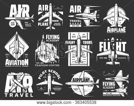 Aviation, Air Travel And Airplane Vector Icons. Flight Tours And Aircraft Pilot School Badge, Milita