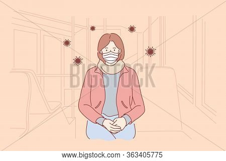 Biohazard, Danger, Coronavirus, Protection Concept. Woman Cartoon Character In Medical Mask Sitting