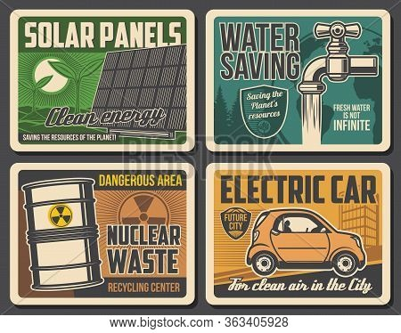 Green Planet And Environment Conservation, Vector Vintage Posters. Earth Protection, Water Saving An