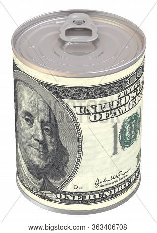 Tin Can With A Label In The Form Of A Banknote Of The Usa Dollar. Cash Reserve Funds. 3d Illustratio