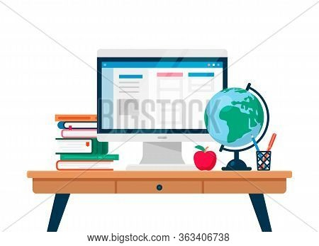 Studying Online Using Computer. Vector Flat Illustration With Work Table, Computer, Books, Table Glo
