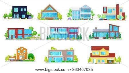 Private Houses, Villa, Mansion And Cottage, Residential Buildings, Real Estate Vector Icons. Modern