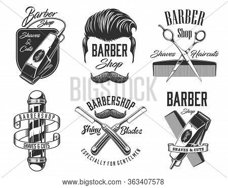 Barber Shop Vector Signs And Icons, Gentleman And Hipster Haircut, Beard And Mustaches Shaving Salon