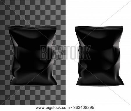 Black Sachet Pouch, Vector Realistic 3d Product Package Mockup Template. Black Plastic Foil Bag, Chi