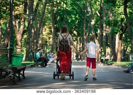 Young Mother Walks In Park With Baby And Older Son. Mom Holds Son's Hand. Motherhood Concept
