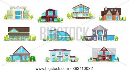 Real Estate Private Buildings Vector Icons. Isolated Villas, Cottages And Bungalow. Cartoon Modern,