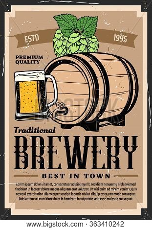 Craft Beer Brewery, Vector Retro Vintage Poster With Wooden Barrel, Pint Mug And Hop. Craft Beer Bar