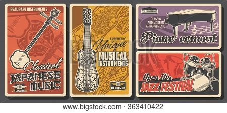 Folk And Jazz Live Music Fest, Classical Piano Concert, Vector Retro Vintage Posters. Folk Musical I