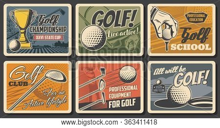 Golf Championship Cup And Golfer Sport School, Vector Vintage Retro Vector Posters. Professional Gol