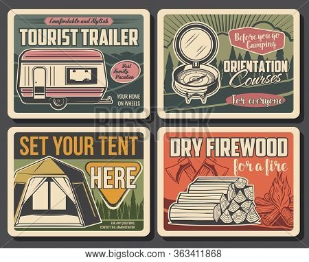 Camping Vector Vintage Posters, Summer Outdoor Adventure. Forest Camping Tents Place Sign And Touris
